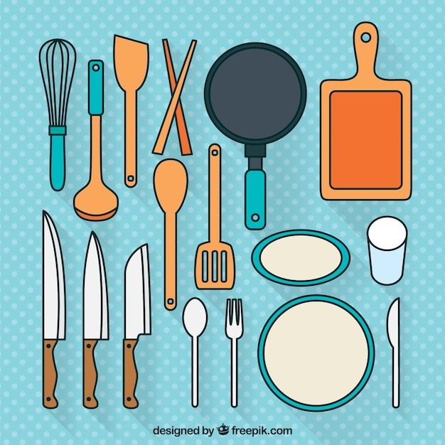 Set de utensilios de cocina descargar vectores gratis for Utensilios de cocina fondo