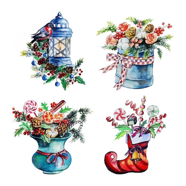 Set de decoración navideña Vector Premium