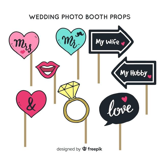 Set de decoraciones para fotomatón en bodas vector gratuito