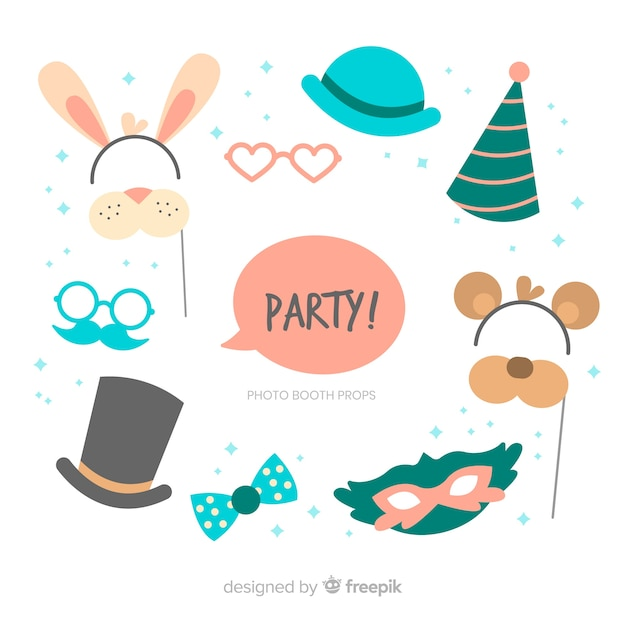 Set de decoraciones para fotomatón en fiestas vector gratuito