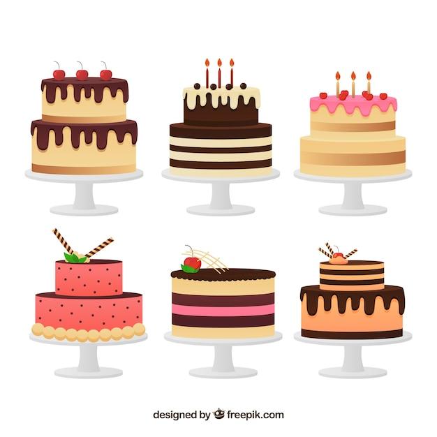 Set de deliciosas tartas en estilo plano vector gratuito