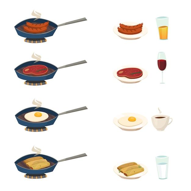 Set de desayuno pan vector gratuito