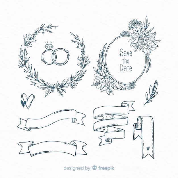 Set dibujado de decoraciones para bodas vector gratuito