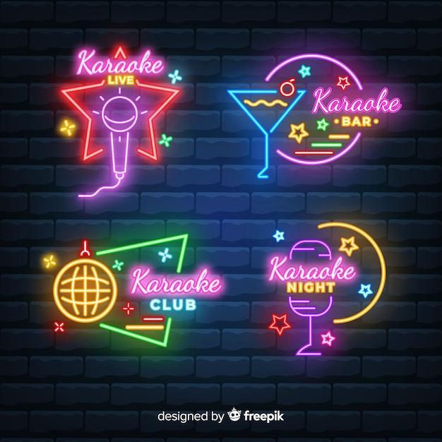 Set dibujado de luces de neón de local de karaoke vector gratuito