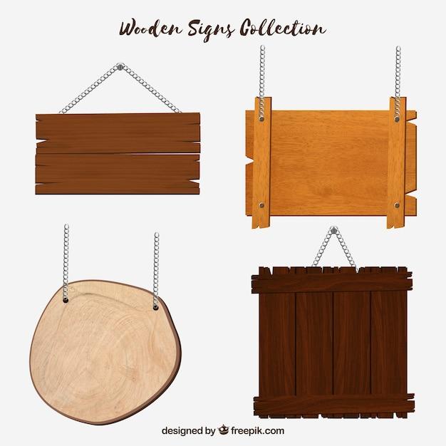 Set de diferentes señales de madera en diseño plano Vector Premium