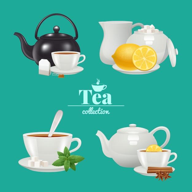 Set de diseño de té vector gratuito