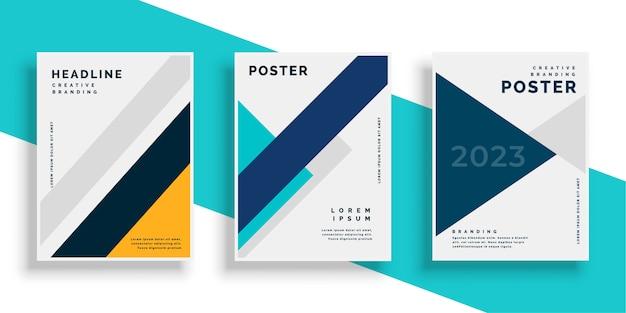 Set de diseños de flyer de cubierta de libro geométrico vector gratuito