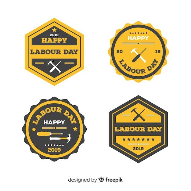 Set de distintivo del día del trabajo vector gratuito