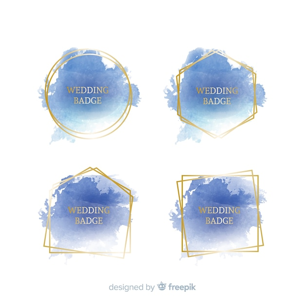 Set de distintivos para bodas de manchas en acuarela vector gratuito
