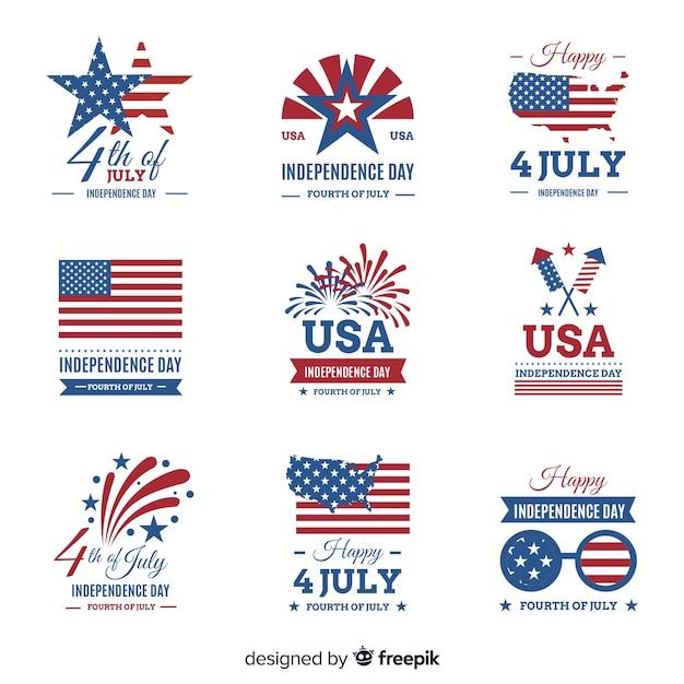 Set de distintivos del cuatro de julio vector gratuito
