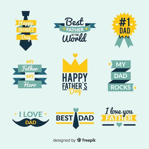 Set de distintivos del día del padre vector gratuito