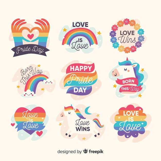 Set de distintivos dibujados del día del orgullo vector gratuito
