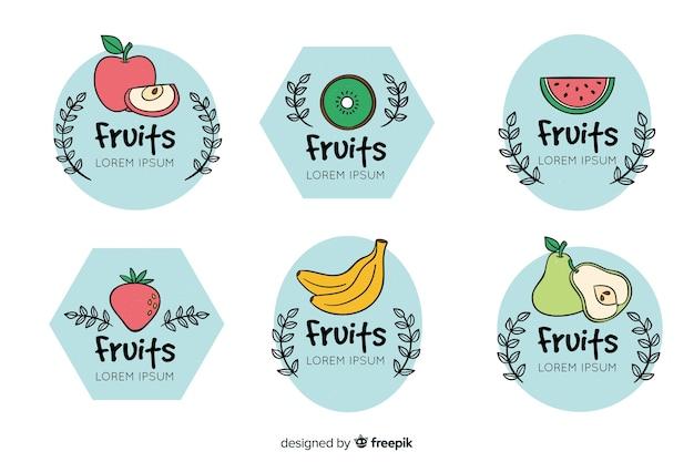 Set de distintivos dibujados de frutas vector gratuito