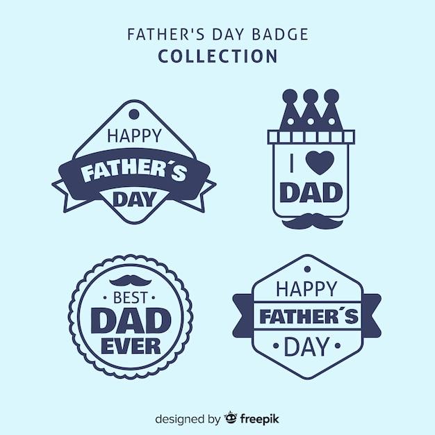Set de distintivos de feliz día del padre vector gratuito