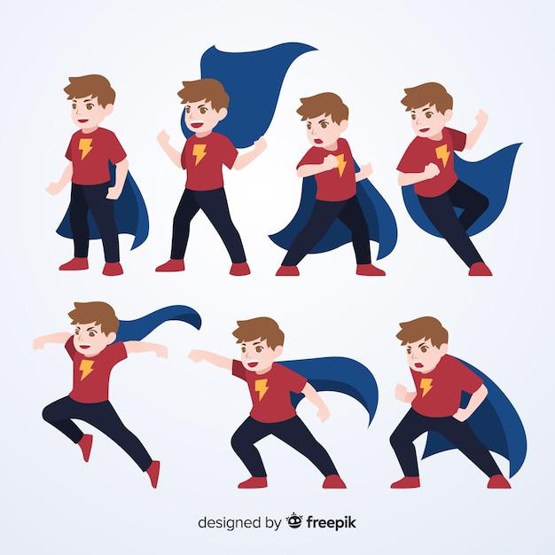 Set de divertidos superheroes Vector Premium