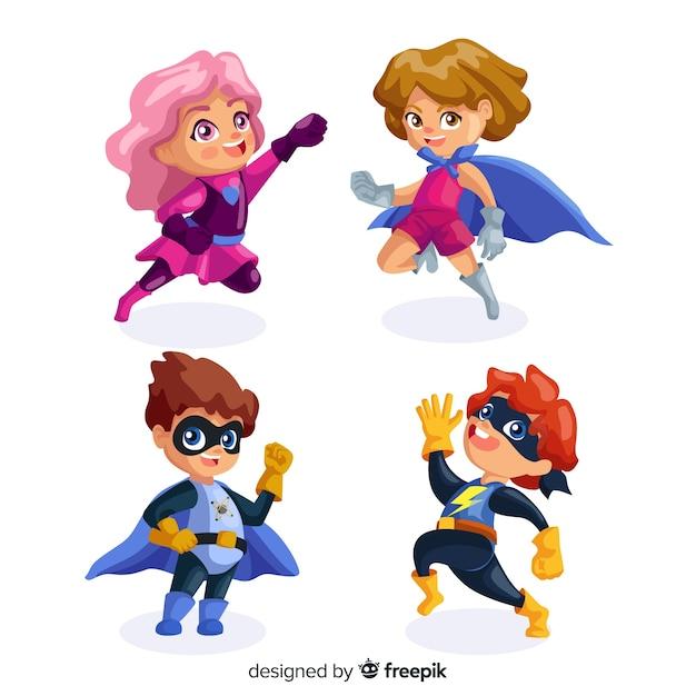 Set de divertidos superheroes vector gratuito