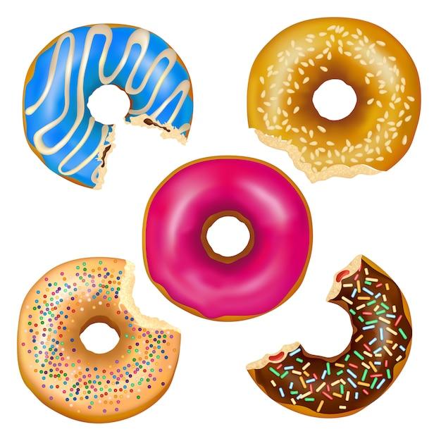 Set de donuts comidos realistas vector gratuito