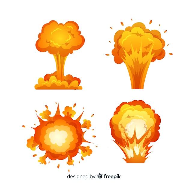 Set de efectos de explosiones de bombas Vector Premium