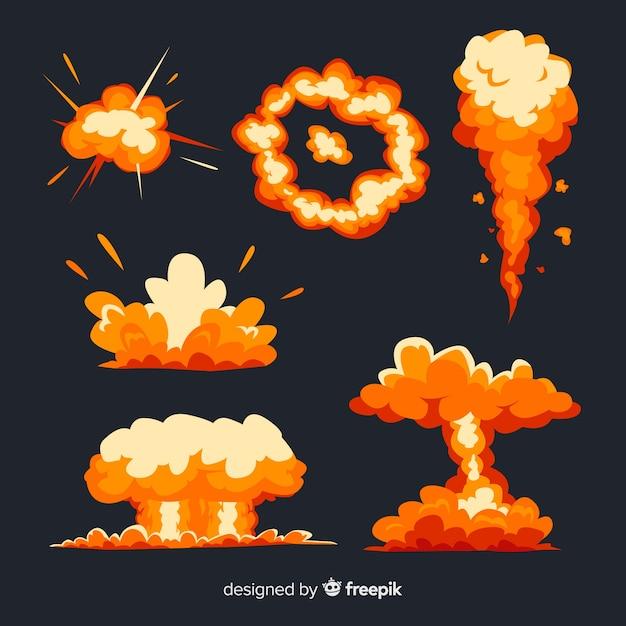 Set de efectos de explosiones de bombas vector gratuito