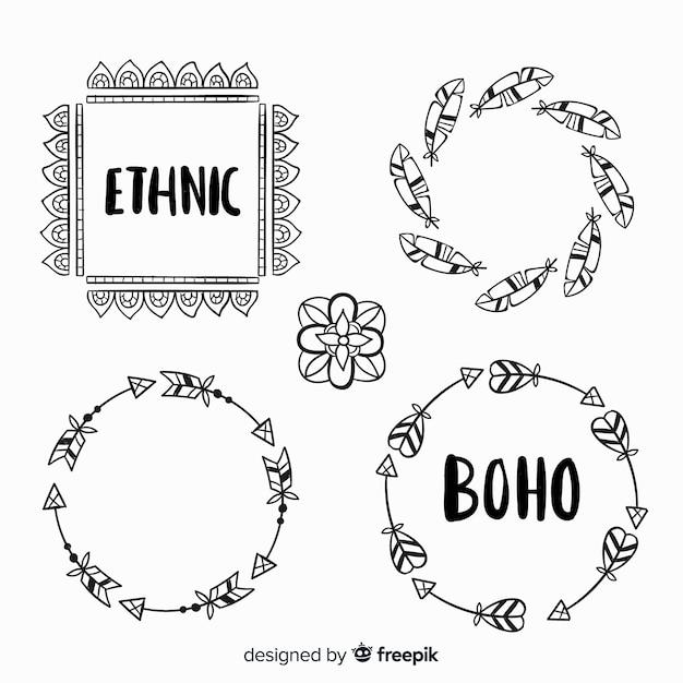 Set de elementos decorativos de estilo boho dibujados vector gratuito