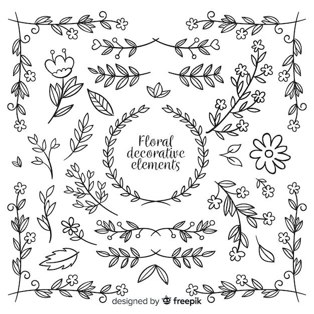 Set de elementos decorativos florales dibujados vector gratuito