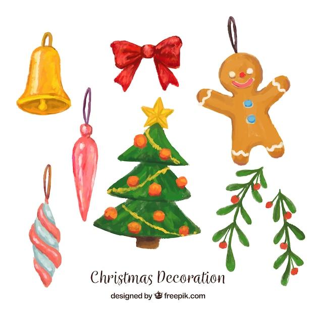 Set De Elementos Decorativos De Navidad De Acuarela Descargar