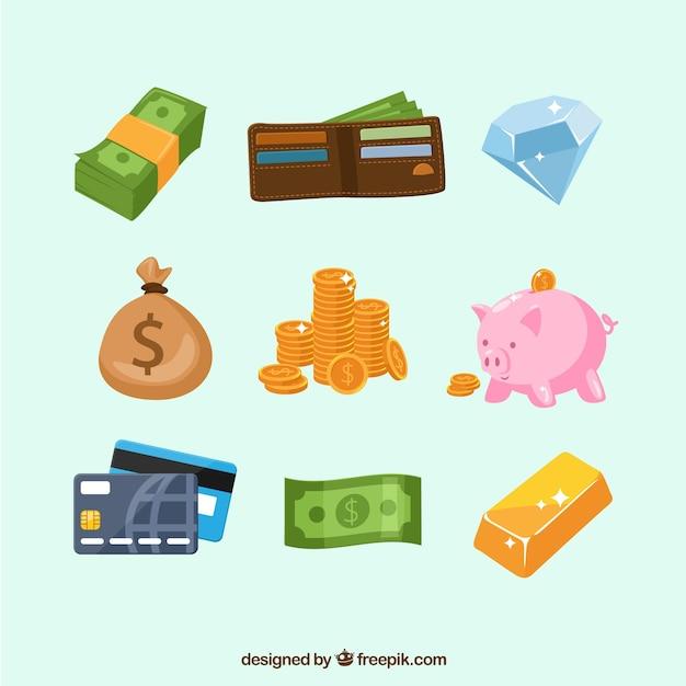 Set de elementos de dinero con cartera vector gratuito