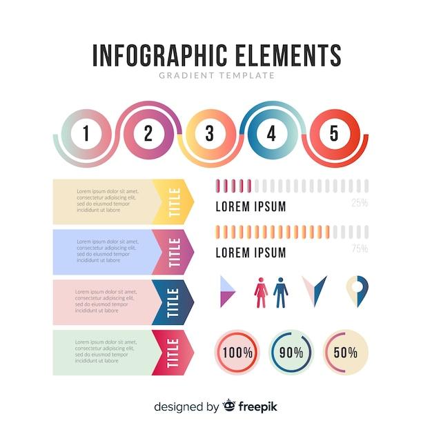 Set de elementos de estilo degradado de infografías vector gratuito