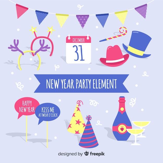 Set de elementos de fiesta para año nuevo vector gratuito