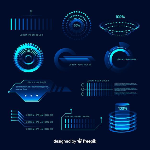 Set de elementos futurísticos de infografía de estilo holográfico vector gratuito