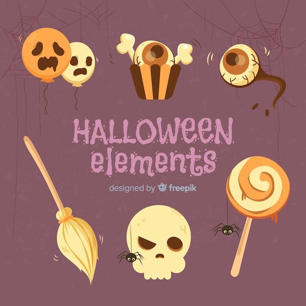 Set de elementos de halloween dibujados a mano vector gratuito