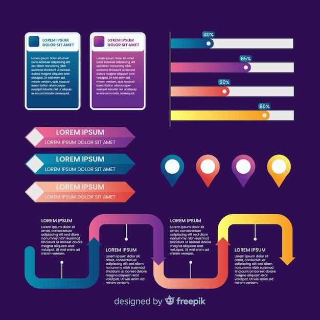 Set elementos infografía degradados vector gratuito