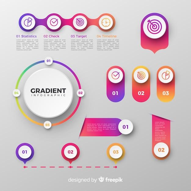 Set de elementos de infografía vector gratuito