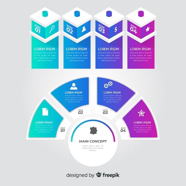 Set de elementos de infografías vector gratuito