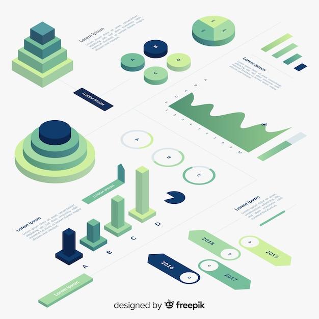 Set de elementos infográficos de estilo degradado con vista isométrica vector gratuito