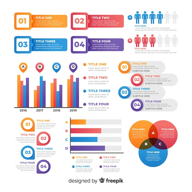 Set de elementos infográficos vector gratuito