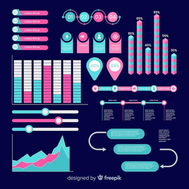 Set elementos planos infográficos vector gratuito