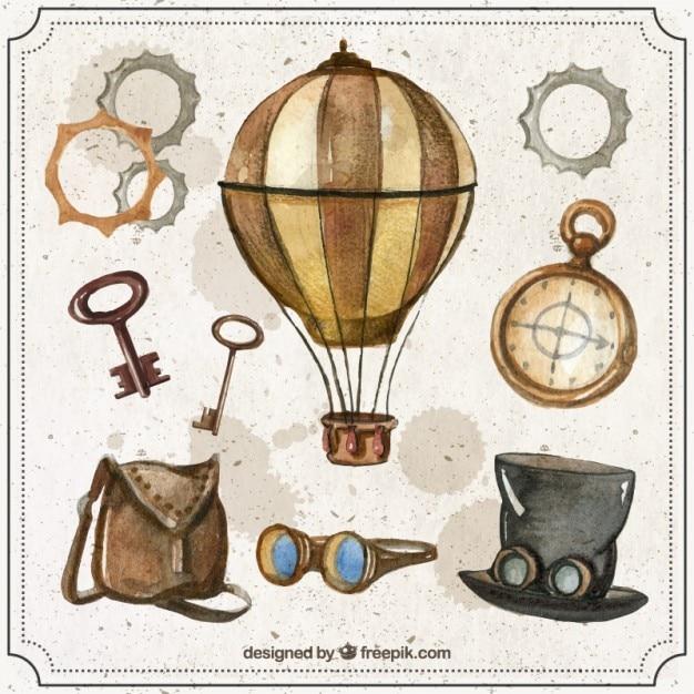 Set de elementos steampunk de acuarela vector gratuito