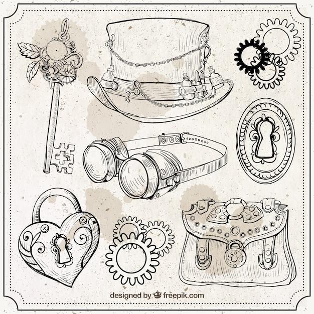 Set de elementos steampunk dibujados a mano vector gratuito