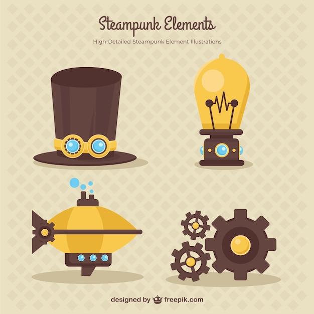 Set de elementos de steampunk vector gratuito