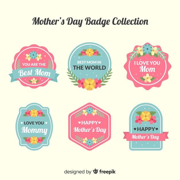 Set de emblemas del día de la madre vector gratuito