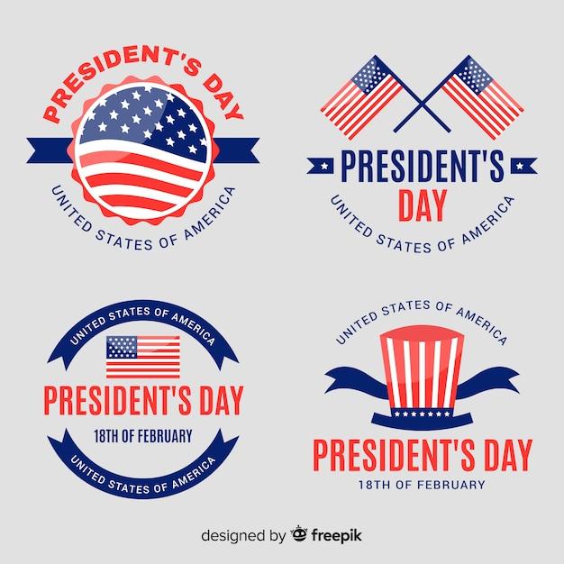 Set de emblemas del día del presidente vector gratuito