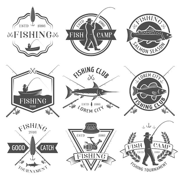 Set de emblemas negros del club de pesca vector gratuito