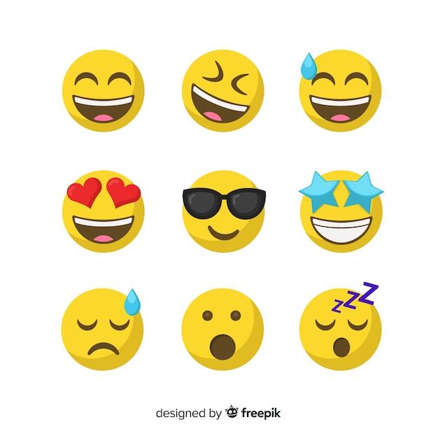Set de emoticones vector gratuito