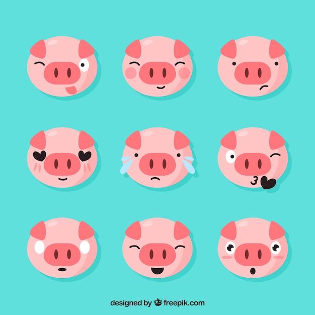 Set de emoticonos de cerdito vector gratuito