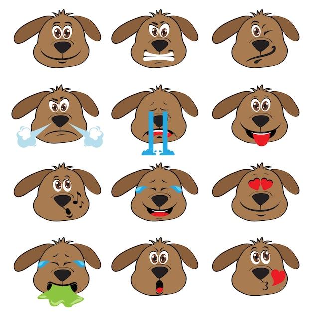 Set de emoticonos de perro vector gratuito