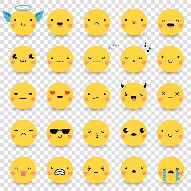 Set de emoticonos transparentes vector gratuito