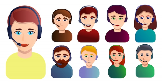 Set de empleados del centro de llamadas. conjunto de dibujos animados de los empleados del centro de llamadas Vector Premium