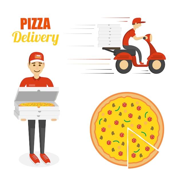 Set de entrega de pizza. Vector Premium