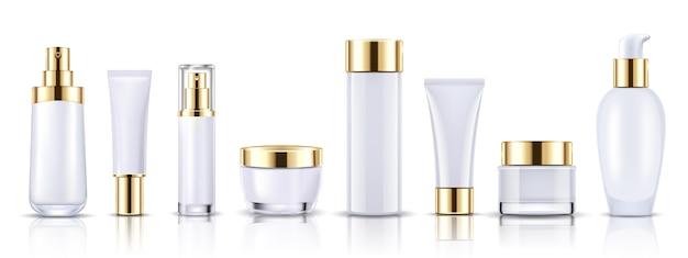 Set de envases de botellas de cosméticos de oro maqueta Vector Premium